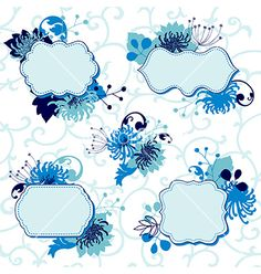 Set of floral frames vector - by alevtina on VectorStock®