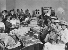 Making sheepskin vests for Australian troops