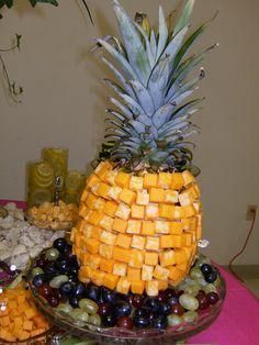 pineapple table piece made with cheese cubes – I can just see this at a Psych party!