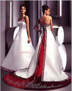 wedding dress with red trim - Google Search