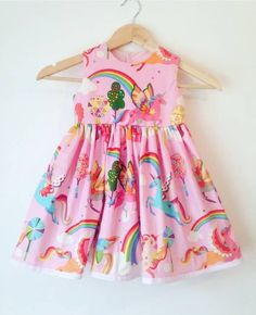 pink unicorn dress, girls dresses, unicorns and rainbows, rainbow dress, bay girls, birthday dress, party dresses, kids clothes, summer wear by AlexasBoutique2013 on Etsy https://www.etsy.com/uk/listing/516813442/pink-unicorn-dress-girls-dresses