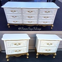 White and Gold French Provincial Bedroom Set - Diy Furniture Bedroom White Furniture, Paint Furniture, Furniture Making, Furniture Makeover, Furniture Stores, Furniture Removal, Furniture Outlet, Cheap Furniture, Repainting Bedroom Furniture