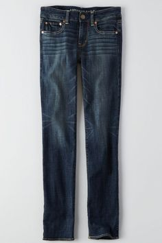 Straight Jean, Worn Dark   American Eagle Outfitters