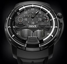 "HYT H1 Ghost Watch - by Zach Pina Get a closer look at: aBlogtoWatch.com ""It looks like HYT is dabbling in the dark arts with the all-new HYT H1 Ghost, bringing a wild new fluid-based complication to its collection of equally impressive, über-exotic time machines. Following the Skull Bad Boy watch, the new HYT H1 Ghost has a black DLC titanium case joined by a new black fluid designed..."""