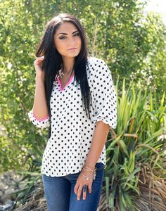 Take an ultra impressive look and feel in our Polka Dot Outlined Top!  This lovely dotty 3/4 v- sleeve features a relaxed fit that gracefully floats around your body. Pair with your favorite heels or wedges and pretty bracelets for an effortless look!