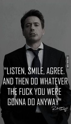 """Inspirational Quotes About Robert Downey Jr """"Happiness is letting go of what you think your life is supposed to look like and celebrating it for everything that it is. Great Motivational Quotes, Great Quotes, Quotes To Live By, Me Quotes, Funny Quotes, Inspirational Quotes, Meaningful Quotes, Bad Boy Quotes, Famous Quotes"""