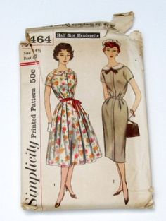 Vintage Dress Pattern 1950s Slim Dress or Full Dress by WitNWhimzy, $8.00