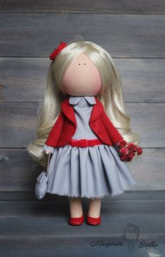 Handmade Art doll red grey blonde color gift by AnnKirillartPlace