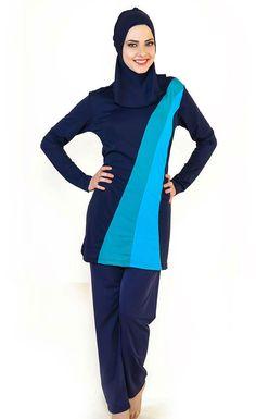 cb08fd37e0 Modesty Muslim Women Swimwear Full Cover Islamic Swimsuit Striped Swimming  Wear