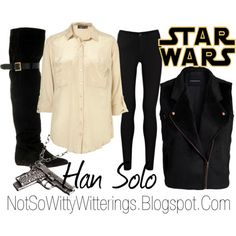 Han Solo Star Wars Outfit ~ I would love to try one of these, but the problem with SW inspired outfits is that they are comprised of so many neutrals....I have too much color! Lol...