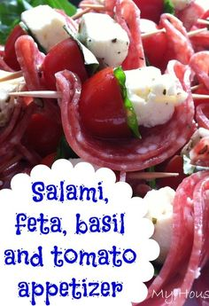 Salami, Feta, Basil and Tomato Appetizer