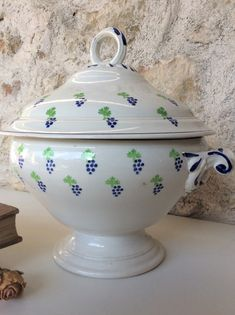 French Cake Stand St Amand terre de fer Fruit decoration ironstone 1920/'s