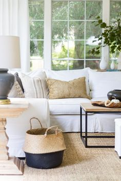Neutral Touches Of Fall In The Family Room Zevy Joy Beautiful Fall Home Decor Ideas In A Modern Farmhouse Living Room With A White Sofa And Simple Pumpkin Vignettes. Fall Home Decor, Autumn Home, My Living Room, Living Room Decor, Cozy Living, Bedroom Decor, White Sofas, Living Room Inspiration, Design Inspiration