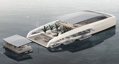 Created by designers in Monaco, the X R-Evolution yacht is designed to give its owners privacy so they could stay in floating 'bungalows' by the beach. Yacht Design, Boat Design, Floating Architecture, Architecture Design, Dock Bumpers, Floating House, Floating Garden, Floating Island, Yacht Boat