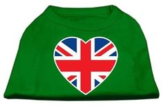 British Flag Heart Screen Print Shirt Green XXL (18)