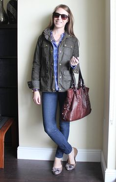 Cargo jacket, graphic blouse, skinny jeans