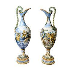 Pair of Italian 19th century Deruta Majolica Urns | by thehighboy