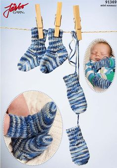 m och 36 v slätst på The baby's first socks and mittens. Knitting For Kids, Baby Knitting Patterns, Baby Patterns, Crochet Baby Mittens, Knit Crochet, Drops Design, Baby Barn, Threading