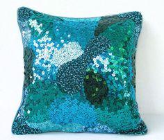 Teal Green Sequin Pillow, Green Throw Pillow, Emerald Pillow, Teal Cushion, Teal Pillow, Sequin Pillow, Teal, Blue, Green- Dazzling Teal