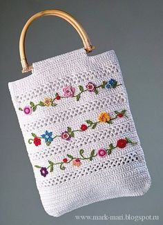 Crochet and Embroidery bag - free pattern and charts available via the link at the blog Mark and Marie.