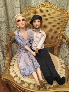 TWO DOLL  SALE  Original French boudoir doll 1920's