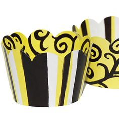 Confetti Couture Party Supplies 36 Dessert Skirtz Reversible Cupcake Wrappers for Bakery Packaging and Decoration, Bright Yellow and Black Bumble Bee Stripes with Elegant Swirls Baby Shower Cases Confetti Couture Party Supplies http://www.amazon.com/dp/B015HQENJK/ref=cm_sw_r_pi_dp_s.g1wb1HN8ABN