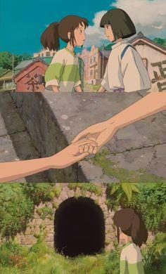 """Final Parting Scene, Hayao Miyazaki's """"Spirited Away""""  ...  *** Chihiro: Will we meet again sometime? Haku: Sure we will. Chihiro: Promise? Haku: Promise. Now go, and don't look back ***"""