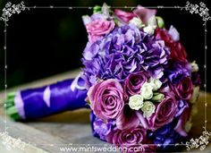 Wedding, Flowers, Bouquet, Purple, Mints