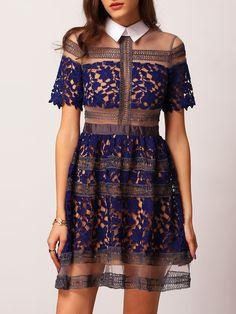 Blue+Lapel+Contrast+Sheer+Mesh+Lace+Dress+52.53