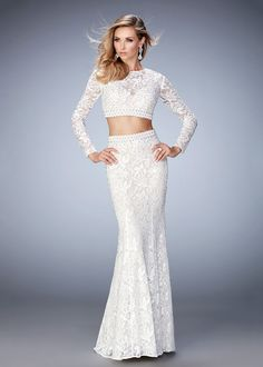 La Femme 22871 White Beautiful Long Sleeve Crop Top Lace Prom Gown