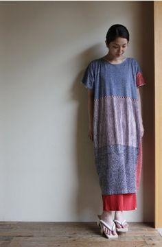 """Rectangle"" Over-sized one-piece dress from Kyoto brand, SOU SOU, Made in Japan #sousou, #kyoto, #japan, #dress, #japanesefashion, #marimekko, #katsujiwakisaka"