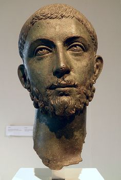 Head from a bronze statue of the Roman emperor Alexander Severus (222-235 AD). On display at the Archaeological Museum of Dion (Greek: Αρχαιολογικό Μουσείο Δίου), Central Macedonia, Greece.