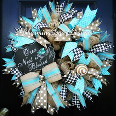 Our Nest is Blessed Baby Boy wreath by CharmingDoorDesigns on Etsy