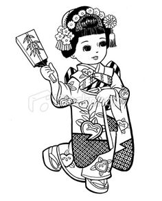 Japanese Girl Dressed as Geisha Royalty Free Stock Photo