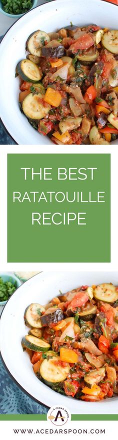 This is the best Ratatouille Recipe I have tried and one my mom passed down to me. Fresh vegetables, like zucchini, eggplant, peppers and tomatoes are simmered with herbs and spices to create an easy vegan meal that you can eat on its own, over rice or paired with pasta. Your family will love this easy ratatouille recipe!// acedarspoon.com #vegetarian #vegan #ratatouille #mediterraneandiet #vegetables Vegetarian Casserole, Vegetarian Breakfast Recipes, Vegetarian Main Dishes, Vegetarian Appetizers, Vegetarian Soup, Vegan Recipes Easy, Lunch Recipes, Healthy Dinner Recipes, Healthy Food