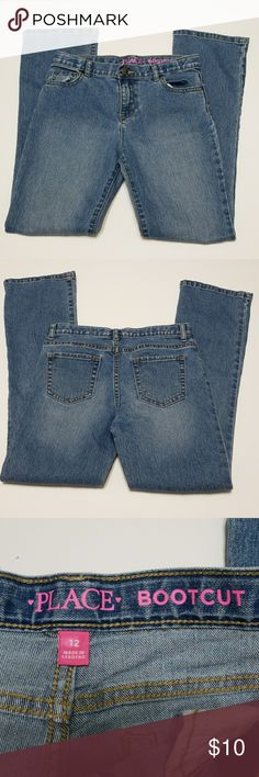 "Children's Place girls bootcut jeans Like new, worn twice. Children's Place girls bootcut jeans. Size 12. Lay flat measurements:  13"" waist, 34"" outseam, 26"" inseam. Children's Place Bottoms Jeans"