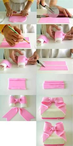 Fondant Ribbon (might use for a baby shower cake) (Pour Cake Tutorial) Fondant Toppers, Fondant Icing, Fondant Tips, Fondant Baby, Fondant Recipes, Fondant Cake Designs, Marshmallow Fondant, Cake Recipes, Cakes To Make