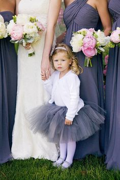 Love the gray and pink, and how precious is the flower girl's tutu?