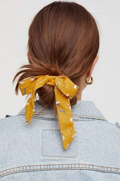 Bow Scrunchie Bow Scrunchie Secure Your Strands With This Too Cute Scrunchie Featuring A Femme Bow Detail Bow Scrunchie Free People Hair Day, New Hair, Scarf Hairstyles, Updo Hairstyle, Quick Hairstyles, Everyday Hairstyles, Prom Hairstyles, Braided Hairstyles, Short Hair Cuts