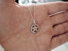 TEXAS STAR - Sterling Silver Charm with a Sterling Silver Chain 16in or 18in. $16.00, via Etsy.