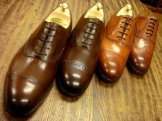 Edward Green. Brouging and toe style variants in these Oxford-style shoes