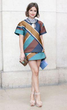 Miroslava Duma wearing Ostwald Helgason at fashion week.