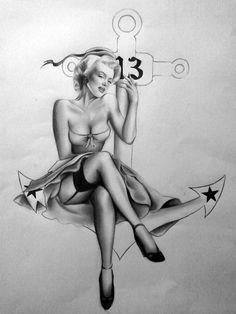 Pin up Tattoo by Silk86 on deviantART   This image first pinned to Marilyn Monroe Art board, here: http://pinterest.com/fairbanksgrafix/marilyn-monroe-art/    #Art #MarilynMonroe
