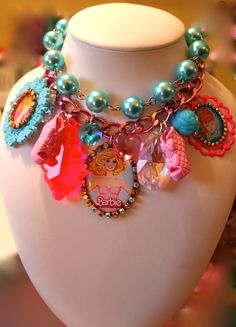 Barbie Baubles and Pearls Chunky Candy Cameo Crystal Statement Necklace - Kitsch Kawaii