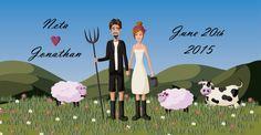 Custom wedding invitation  , custom couple illustration,  by TULillustration
