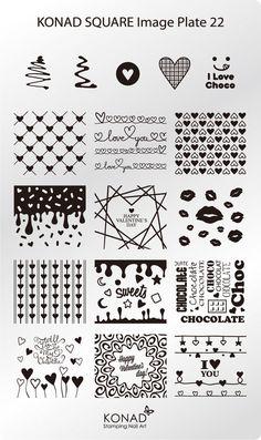 KONAD XL Square 22 Stamping Schablone Plate Nailart Nageldesign Love Herz | Beauty & Gesundheit, Maniküre & Pediküre, Nail-Art-Zubehör | eBay!