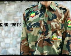BOB MARLEY DON/'T FORGET YOUR HISTORY SAND COLOUR ARMY STYLE JACKET REGGAE