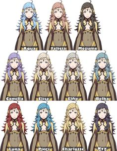 Owai--I mean, Odin's daughter Ophelia's possible hair colors.