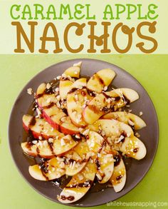Caramel Apple Nachos are super easy and so delicious! Such a fun snack the whole family will love.