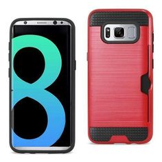 REIKO SAMSUNG GALAXY S8 EDGE/ S8 PLUS SLIM ARMOR HYBRID CASE WITH CARD HOLDER IN RED